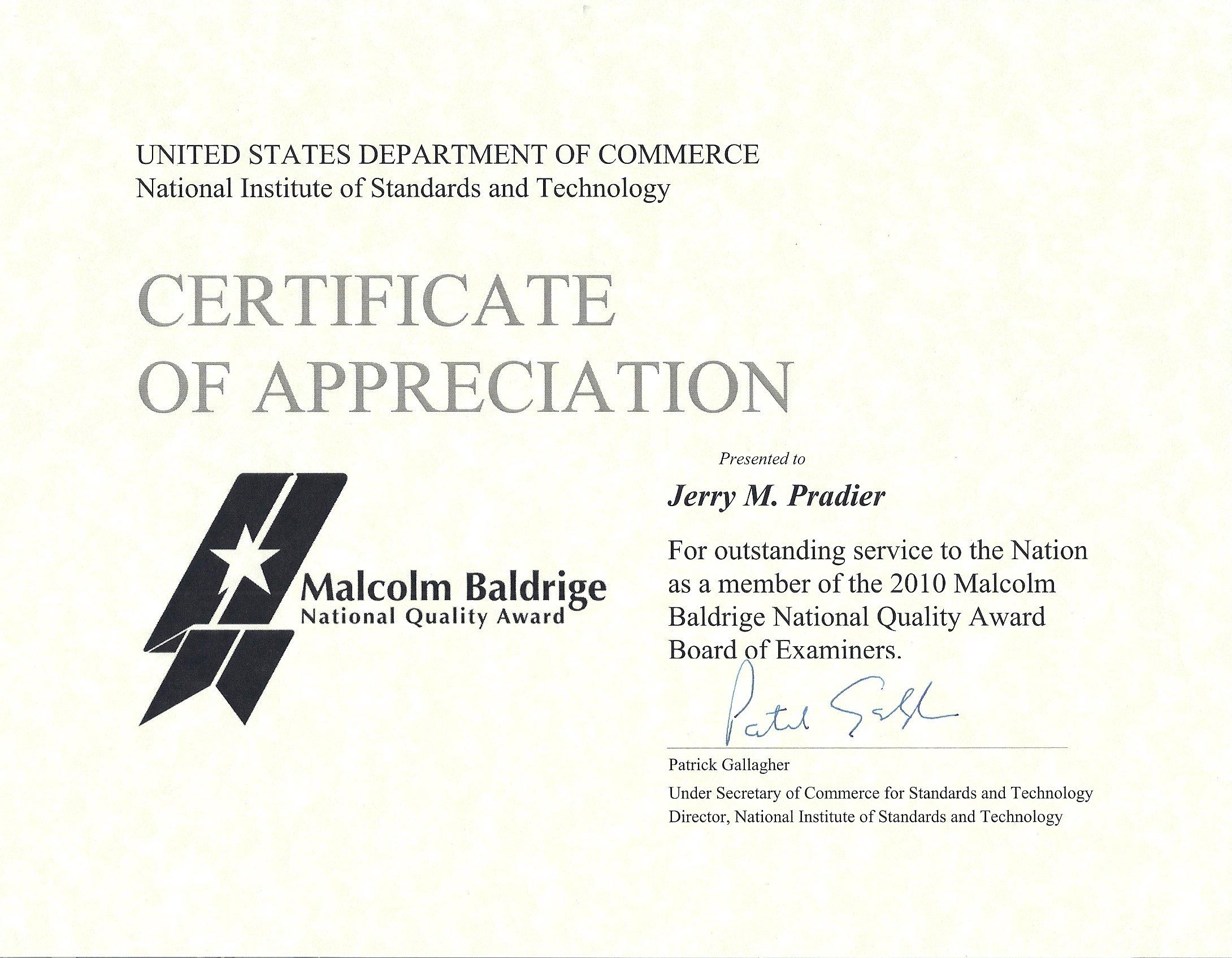 Pbdn news progressive business development network 2010 baldrige national quality award certificate of appreciation yelopaper Choice Image